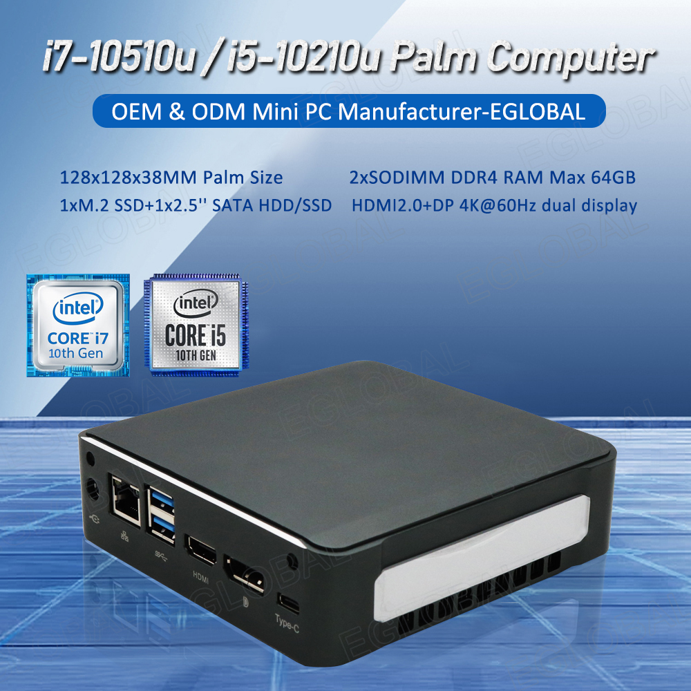 Eglobal 10th Gen plus récent pc de jeu intel core i5 10210U i7 10510U mini pc de petite taille Win10 Pro Max 64G DDR4 HDMI2.0 Maximum 4.9G
