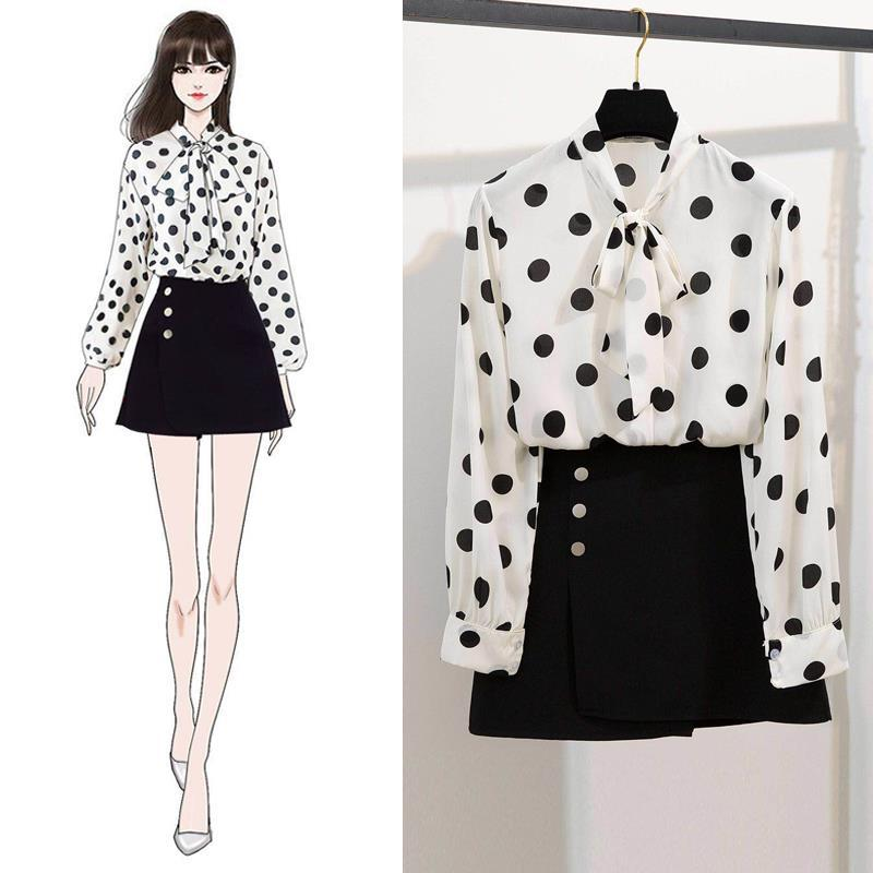 2019 Spring New Style Two-Piece Set-Style Chiffon Polka Dot Bow Shirt Slit Skirt Short Skirt