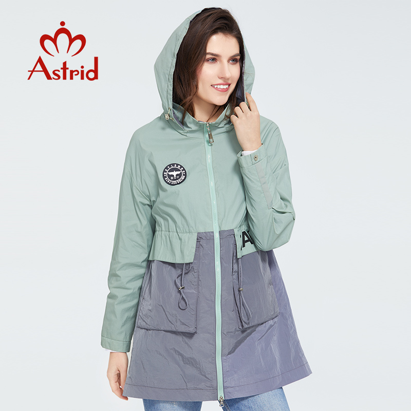 Astrid 2020 New Spring Fashion Mid-length Trench Coat Hooded Casual Sport High Quality Female Outwear Trend Loose Thin Coat 3068