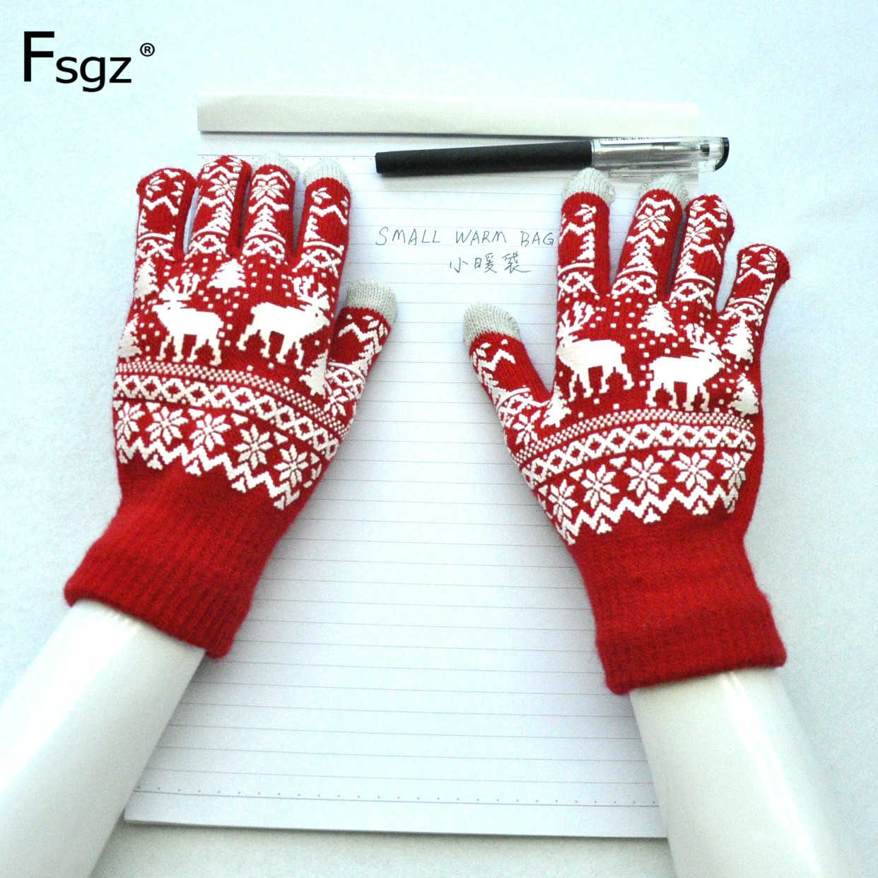 Adult Knitted Gloves Environmental Acrylic Yarn Elk Sknowflake Christmas Offset Print Anti-slip Glove Warm Five Fingers Mitten