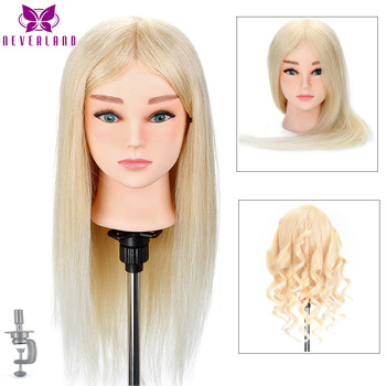 Hairdressing Mannequin Head 22 100% Real Human Hair for Hairstyles Hairdressers Curling Practice Training Head with Stand 100% real human hair head dolls for hairdressers 16 brown training head professional mannequin with small clamp can be curled