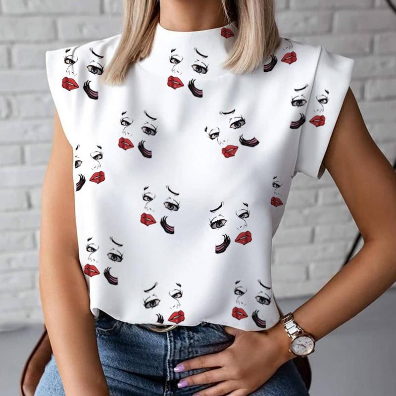 Blouse Shirts Tops Pullovers Eye Short Sleeve Lips-Print Blusa Women Elegant Summer Causal Stand Neck Ladies Fashion Chemise 14