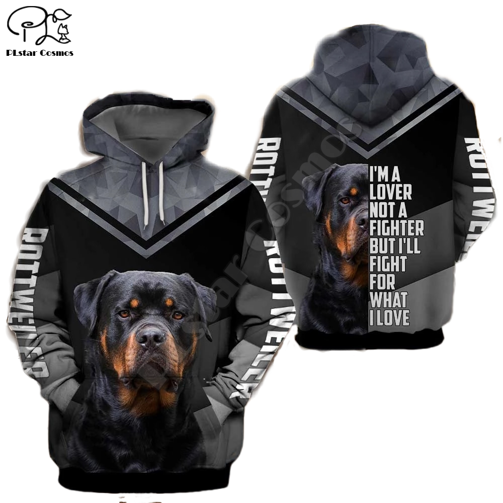 Unisex Mens Rottweiler Dog 3d Print Hoodies Zipper Autumn Long Sleeve Sweatshirts Women Pullover Tracksuit Hood Spring Outwear