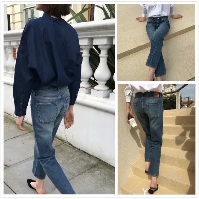 Europe And America 2019 Spring New Style Classic Non-symmetrical Torsion Seam High Waist Pure Cotton Straight-Cut WOMEN'S Jeans