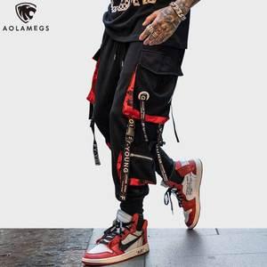 Image 1 - Aolamegs Quần Nam Chặn Đánh Màu Túi Theo Dõi Quần Nam Thời Trang Quần Lưng Thun Hip Hop Quần Jogger Dài Thấm Hút Mồ Hôi Cho Dạo Phố