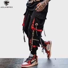 Aolamegs pantolon erkekler blok Hit renk cep eşofman altları erkek moda pantolon elastik bel Hip Hop Joggers Sweatpants Streetwear