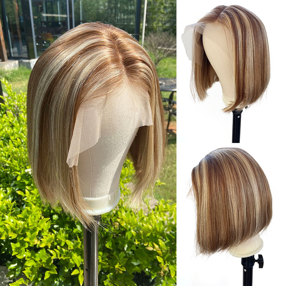 Loviness Highlight Short Bob Balayage Remy Virgin Hair U Part Blonde Honey Brown Cheap Ombre Lace Front Human Hair Wig For Women