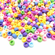 50Pcs 6x9mm Round Big Hole Transparent/ Solid color/Matte Acrylic Beads Spacer Loose Beads for Jewelry Making DIY Accessories