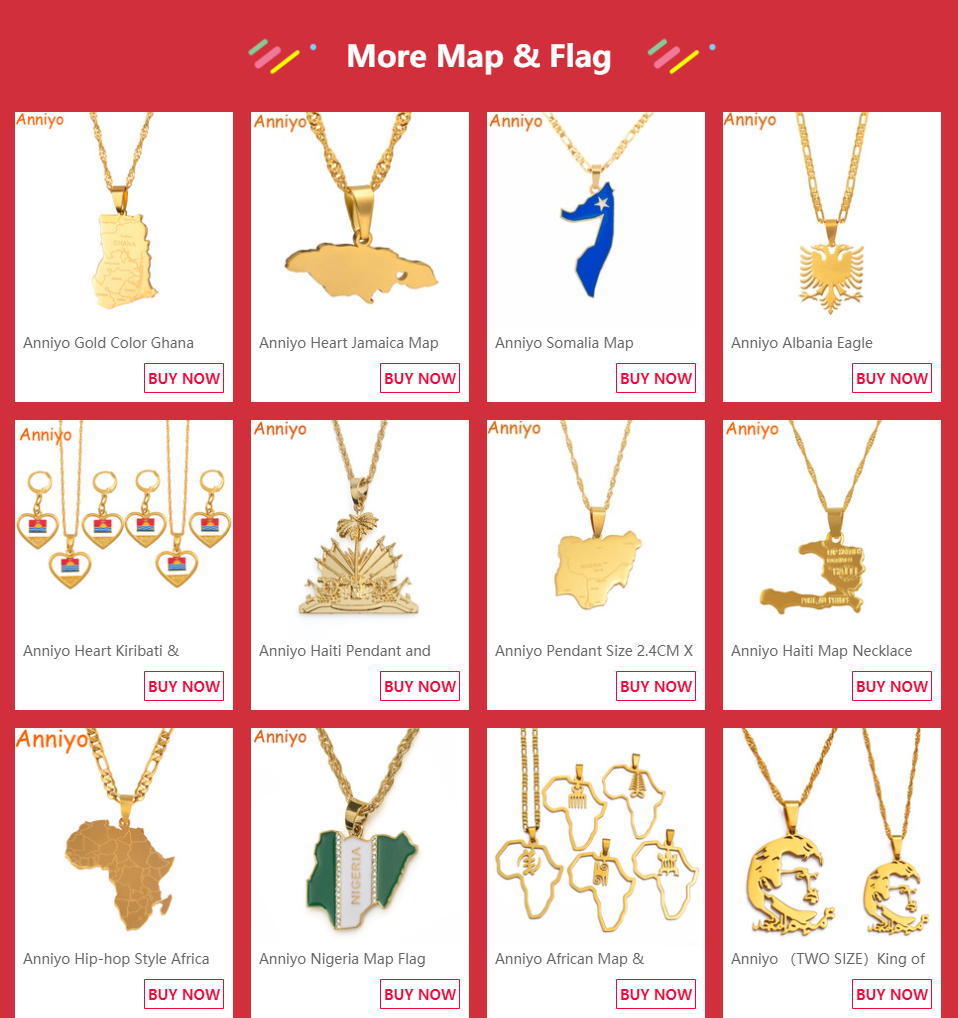 Anniyo кулон Карта Африки ожерелье для женщин мужчин серебро/золото Цвет эфиопские ювелирные изделия карты Африки хип-хоп Пункт#132106