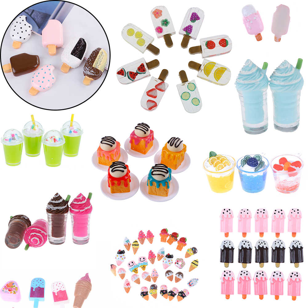 1/2/5Pcs Pretend Play Mini Food Play House Toy Doll Accessories Cute Dollhouse Miniature Drink Ice Cream Cups Set Model
