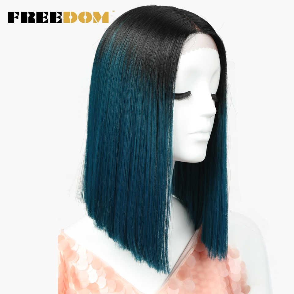 Peluca sintética FREEDOM liso con malla frontal de 14 pulgadas, peluca de Cosplay de verano de Color rojo rubio y azul, envío gratis en EE. UU.
