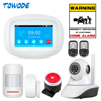 цена на TOWODE K52 WIFI GSM Wireless Home Security Alarm System APP Control With Auto Dial Motion Detector Sensor Burglar Alarm System