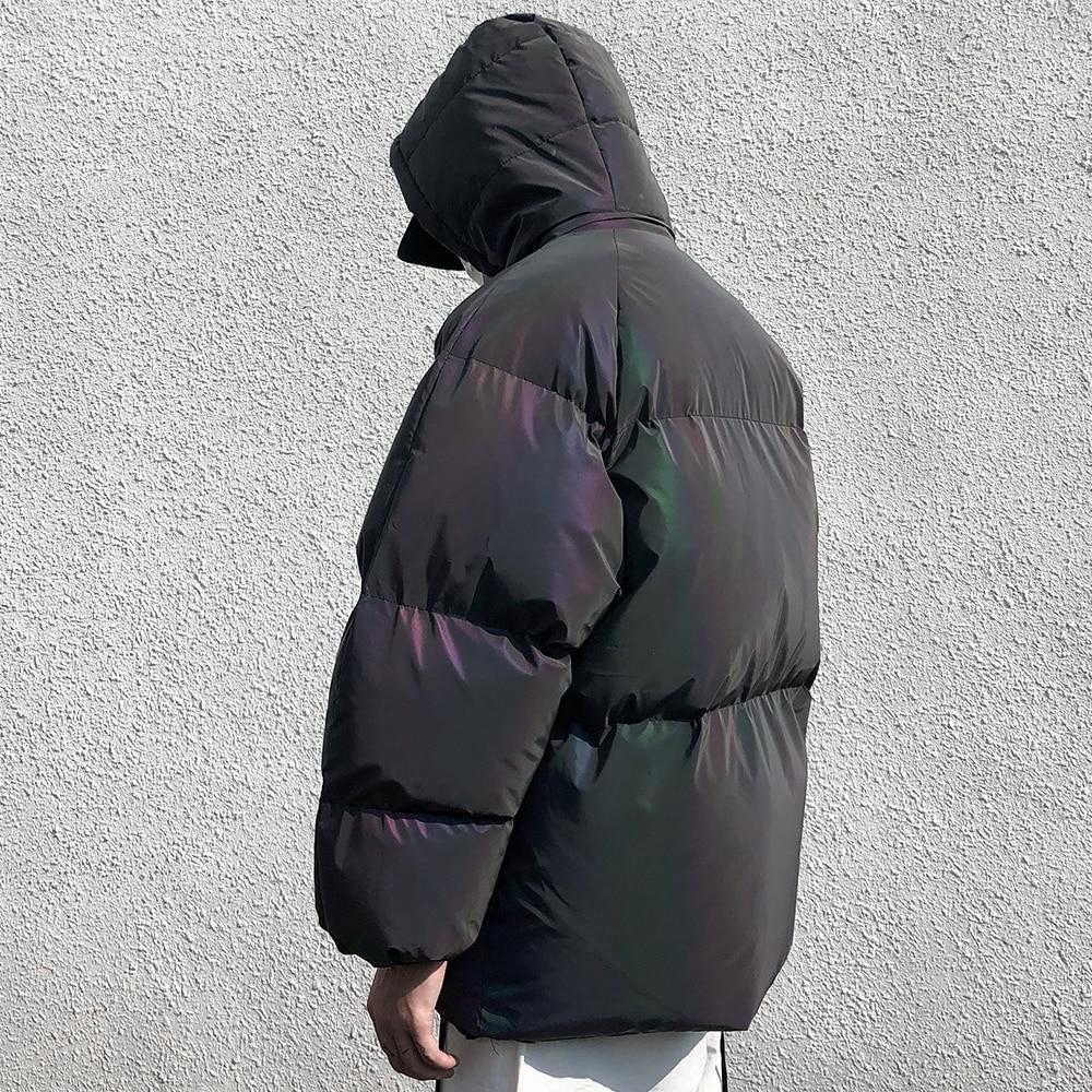 Jaqueta de inverno masculino grosso arco íris reflexivo casacos parka casaco moda jovem hip hop solto jaqueta streetwear outwear roupas masculinas - 4