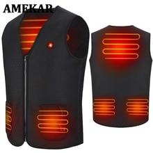 Winter Thermal Heating Vest Men Women Intelligent USB Infrared Heated Vest Battery Heated Jacket Hiking Waistcoat