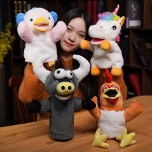 Animal Plush Hand Puppets Kids Cute Soft Toy Chickens Unicorn Cattle Penguin Shape Story Pretend Playing Dolls Gift For Children