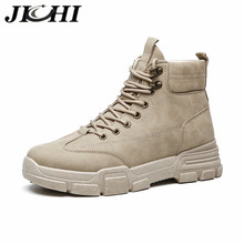 JICHI 2020 Military Boots Men Leather Waterproof Lace Up Win