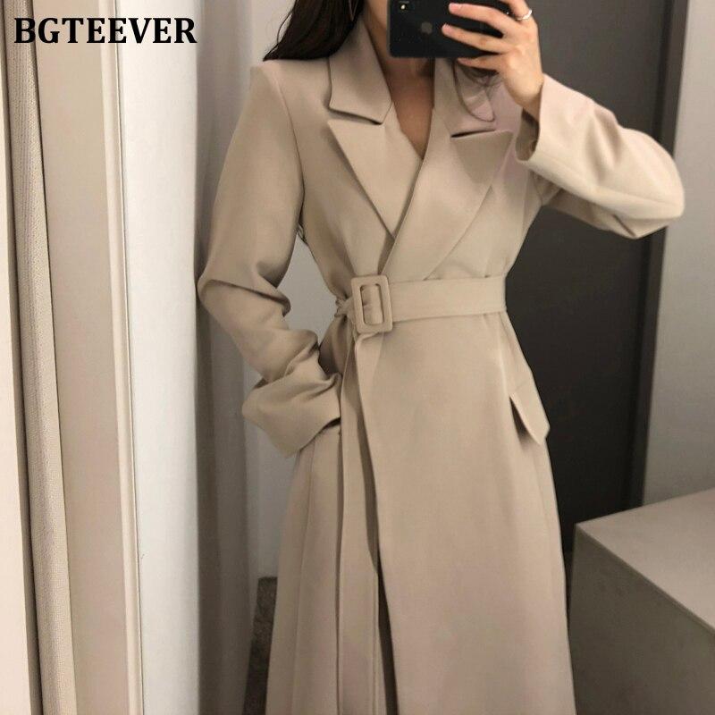 BGTEEVER Elegant Notched Collar Women Suit Coats Long Sleeve Pockets Belted Long Overcoats Female Slim Waist Female Outwear 2020