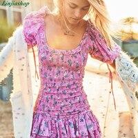 Boho loveshackfancy autumn dress violet short sleeve ruffles slim holiday ins bloggers special interest mini dress women