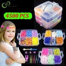 4500 sztuk opaski gumowe DIY tkactwo Tool Box zestaw kreatywny elastyczny silikon bransoletka zestaw dzieci zabawki dla dzieci dziewczyny prezent ZXH