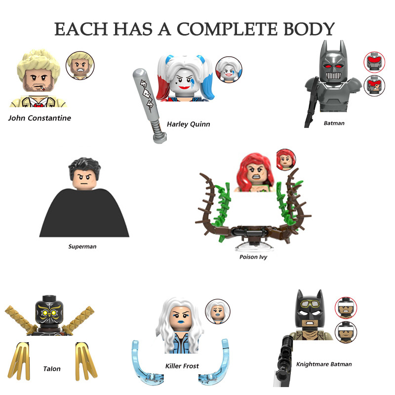 Supereroi Action Figures Doll Harley Quinn Batman Superman Talon John costantine Mini mattoni Building Blocks giocattoli assemblati