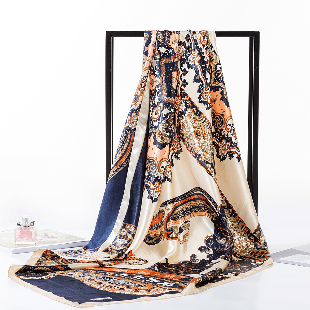 Silk Scarf Fashion Pattern Square Head Scarfs Neckerchief For Women Paisley Print Night Sleeping Hair Scarves AA10132