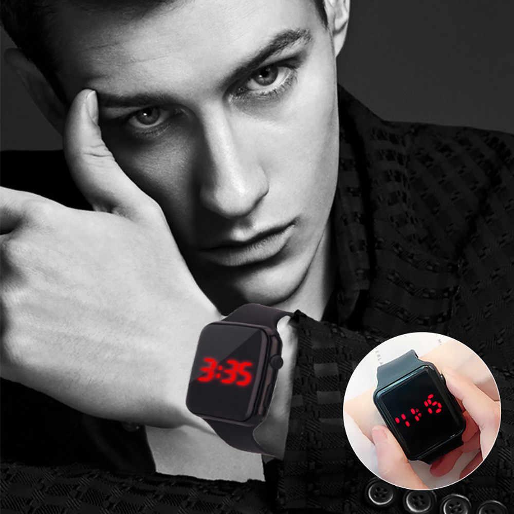 Kadın erkek saatler LED öğrenci çift elektronik kare izle silikon dijital saat reloj hombre relogio masculino Dropshipping