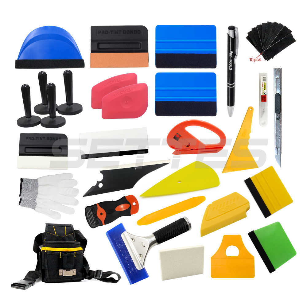 Car Wrapping Install Tools Kit Vinyl Wrap Bag Felt Squeegee Razor Glove 4 Magnet