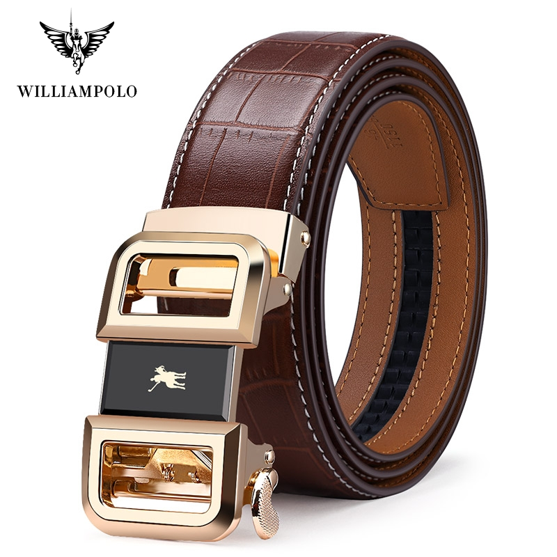 Williampolo Automatic Toothless Alloy Buckle Men Belt Genuine Leather Cowhide Strap For Male Business Men's Belts 19540-42P