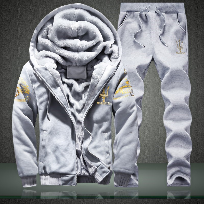 Men Leisure Set Winter Students Sports Clothing Brushed And Thick Hoodie Hooded Coat Two-Piece Set