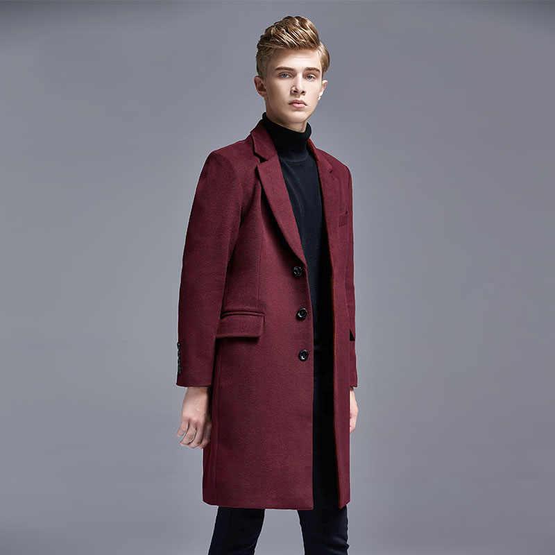 가을/겨울 캐주얼 영국 슬림 싱글 브레스트 남성 정장 칼라 모직 트렌치 코트 중간 롱 남성 자켓 및 코트 6XL