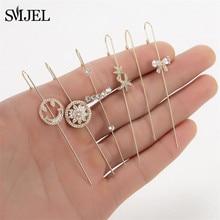 Boho Ear Wrap Crawler Hook Earring Crystal Earrings For Woman Leaf Bowknot Lightning Zirconia Climber Earrings Wedding Jewelry