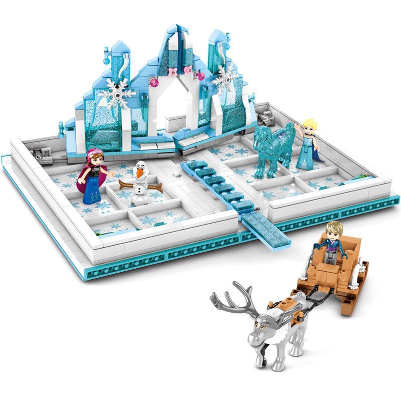2020 New Friends Ice and Snows Princess Legoing Frozen 575PCS Anna Elsa Princess Castle Pop Up Book Building Blocks Movie Toys