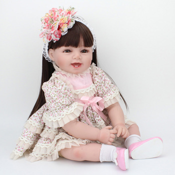 Very realistic sleeping doll 3/4 Silicone Vinyl Babies Reborn Dolls Realistic 55cm NewBorn Baby in fashion dress for girls gift