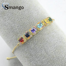 Wholesale Copper Micro Pave square Shape CZ Charm Bracelet In Gold Colors Top Quality Plating of 5 Pcs,B0115