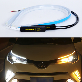 2pcs Super Slim Led DRL For Toyota RAV4 2005-2016 2017 2018 2019 2020 Led Strip Car Daytime Running Lights Dynamic Turn Signal image