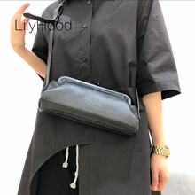 Female Cow Leather Clip Purse Bag Lady Fashion High Quality Genuine Leather Luxury Designer Frame Black Messenger Bag for Women