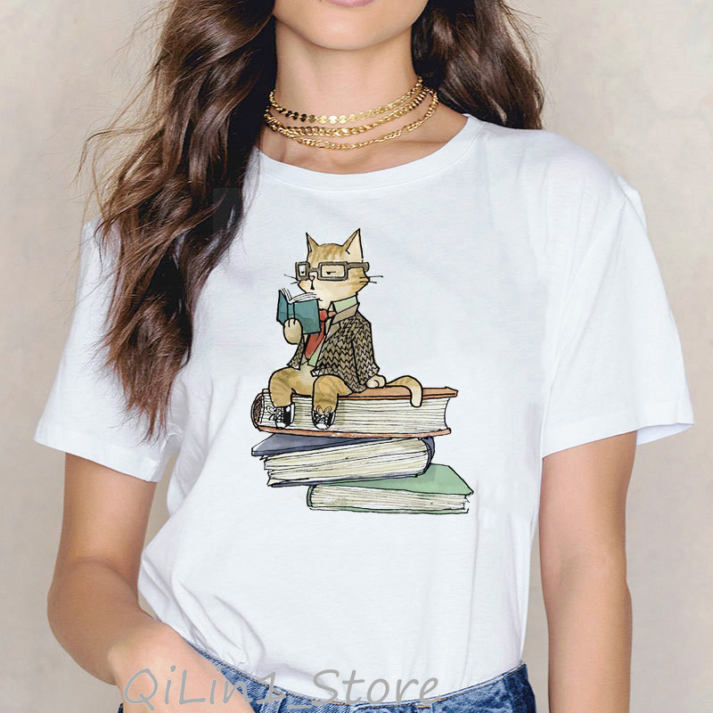 Cats love reading book funny t shirts women kawaii tshirt summer 2020 white female t shirt cute animal print cats lover tops tee|T-Shirts| - AliExpress