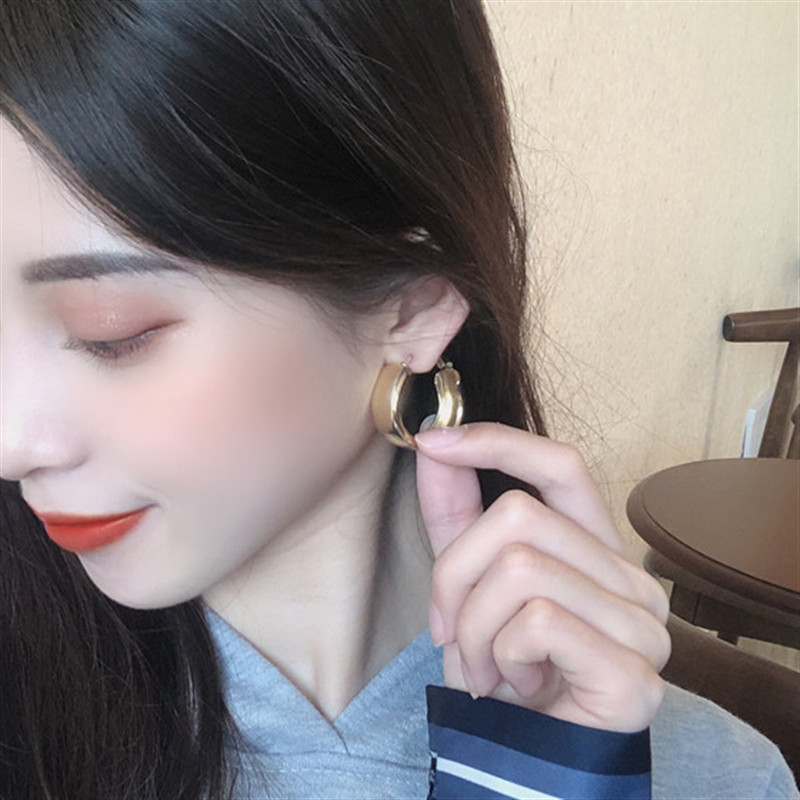 Minimalist Gold Silver color Metal Large Circle Geometric Round Big Earrings for Women Girl Wedding Party Jewelry