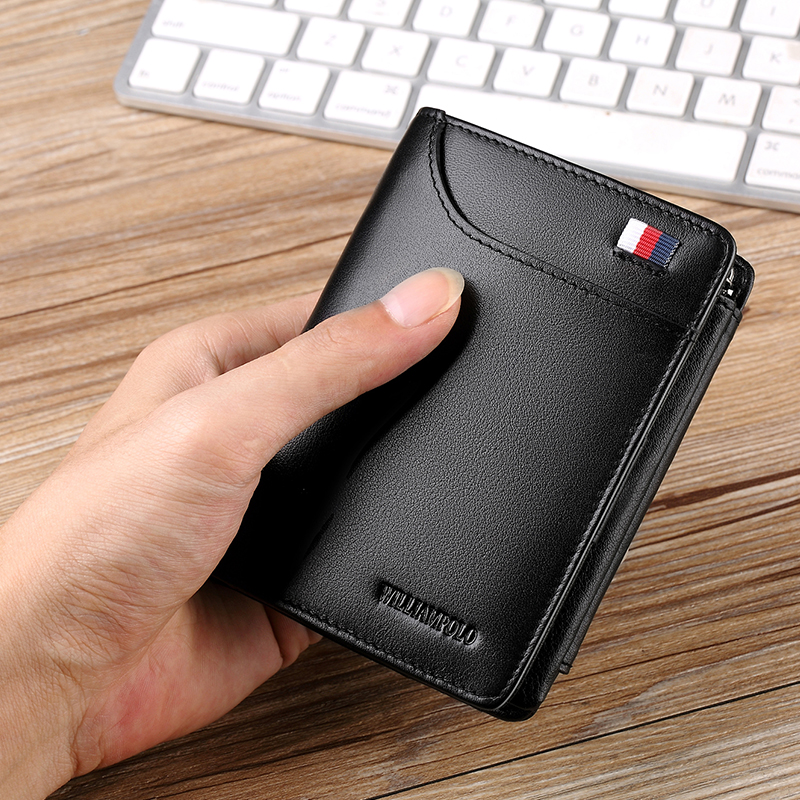 WILLIAMPOLO Luxury Brand Hight Genuine Leather Men Wallet Trifold Wallet Zip Coin Pocket Purse Cow Leather Wallet Mens Card Purs