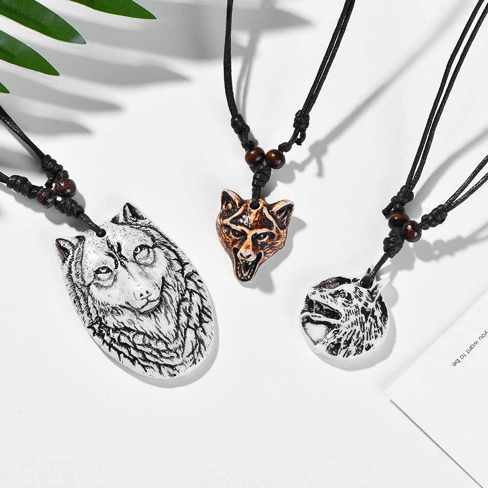 Fashion Retro Wolf Head Tooth Carving Pendent Necklace Personality Rope Chain For Men Cool Punk Jewelry Adjustable Dropshipping