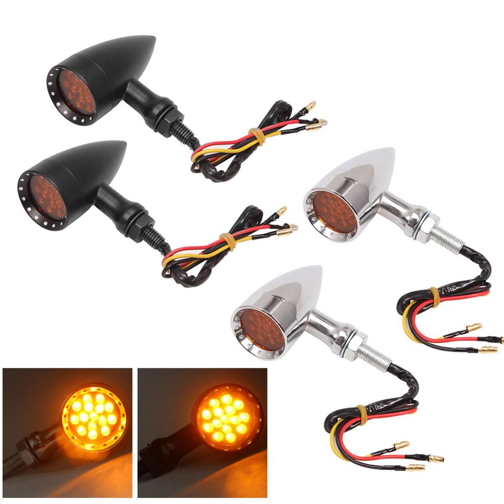 4X Black Metal Retro Motor Sportster Dyna Softail Bullet Turn Signal Lights