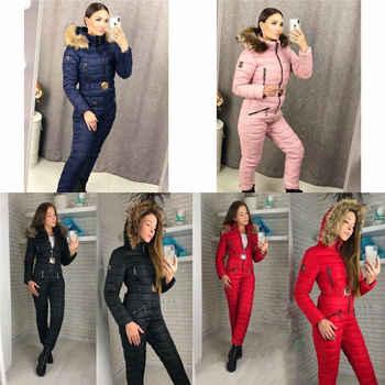 Womens Winter Warm Ski Anzug wasserdicht Overall Schnee Anzug Outdoor Strampler