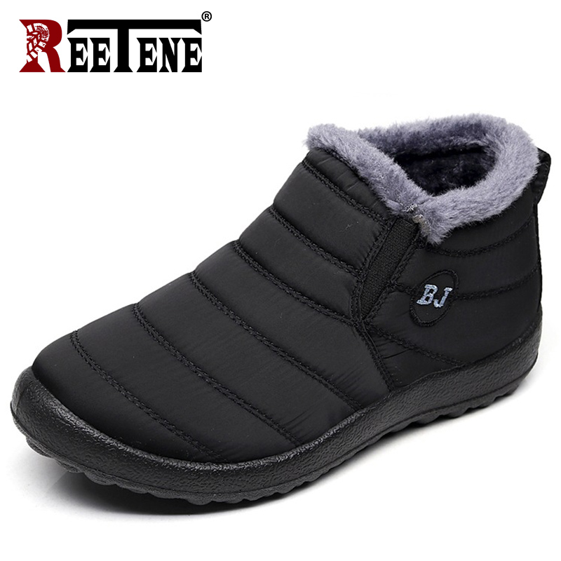 REETENE Fur Men Boots Men Winter Shoes Solid Color Snow Boots Plush Antiskid Bottom Keep Warm Waterproof Ski Boots Size 37-46