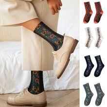 Nakış çiçek çorap etnik tarzı kadın çorap kızlar kadın uyku ev kat yatak odası çorap harajuku rahat çiçek Sox 35-40