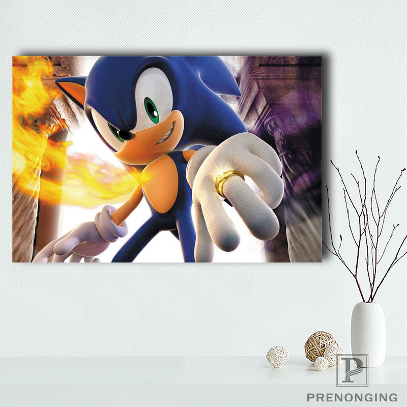 Canvas Poster Silk Fabric Sonic 3d Hd Home Decor Retro Classic