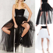 Women's Punk Skirt Female Gothic Tulle Skirt Summer Steampunk Long Skirt Ball Gown Black Mesh Shows Dance Party Skirts(China)