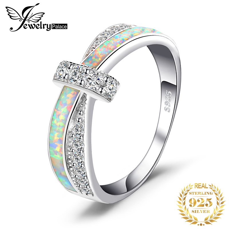 JewelryPalace Created White Opal Ring 925 Sterling Silver Rings For Women Stackable Ring Band Silver 925 Jewelry Fine Jewelry