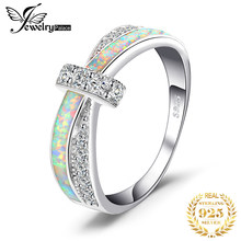 JewelryPalace Created White Opal Ring 925 Sterling Silver Rings for Women Stackable Ring Band Silver 925 Jewelry Fine Jewelry(China)