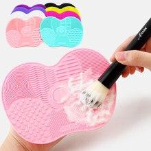 1pc silicone fundação escova de maquiagem placa de purificador de maquiagem escova de limpeza almofada de maquiagem maquiagem escova de lavagem gel esteira de limpeza mão ferramenta