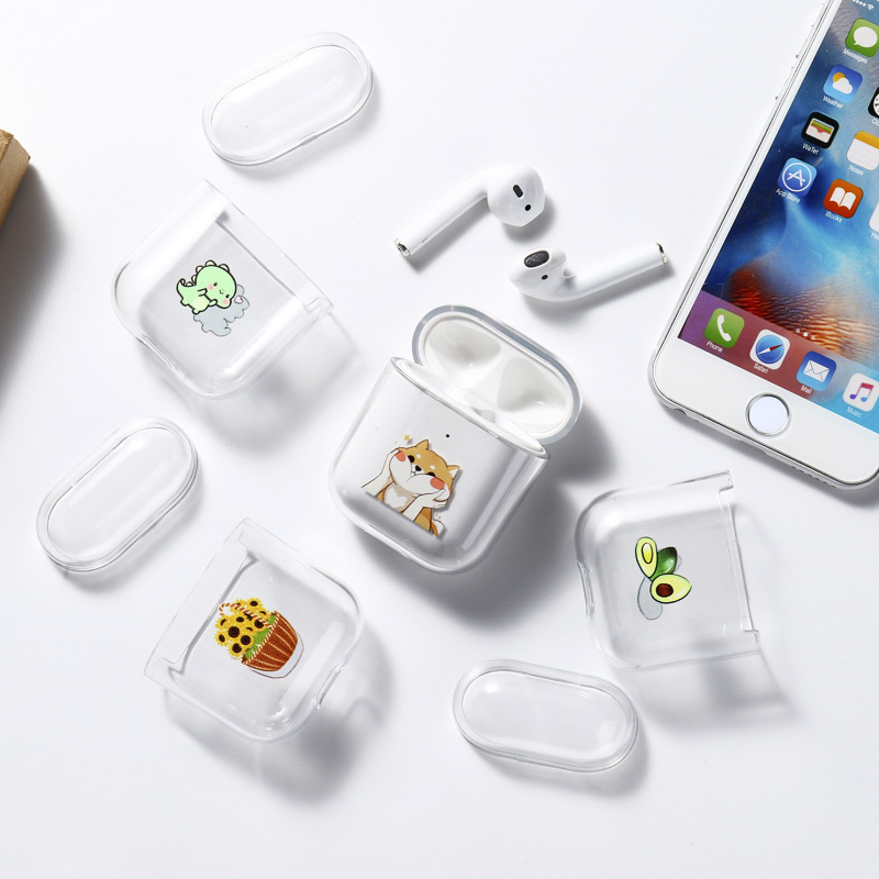 Headphone Case For Airpods Case Cover Cute Luxury Cartoon Painted Hard Case Transparent Funda For AirPod 1 2 Protective Cover